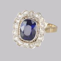 Sapphire & Diamond Cluster Ring 1930s 18ct Gold Rose Cut Diamond Ring (4 of 9)