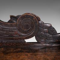 Antique Gothic Bench, Scottish, Oak, Love Seat, Hall Pew, Victorian c.1850 (9 of 12)