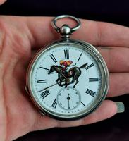 Victorian Silver Pocket Watch, Enamelled, Horse Racing (2 of 10)