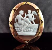 Antique Victorian Cameo Brooch, 9ct Gold, Cupid