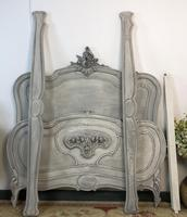 Antique French Double Bed Frame & Pot Cupboard Painted in Weathered Grey (9 of 12)