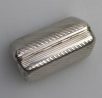 Good French Solid Silver Reeded Rectangular Snuff Box c.1830 (7 of 10)