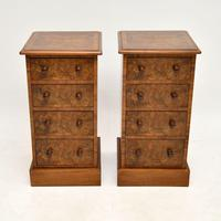 Pair of Antique Victorian Burr Walnut Bedside Chests (2 of 10)
