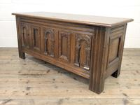 Early 20th Century Antique Carved Oak Blanket Box (2 of 9)