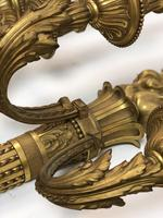 Pair of Huge French Gilded Bronze 'Flambeau' Imposing Wall Lights Magnifique (3 of 9)