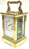 Good Antique French 8-day Carriage Clock Bevelled Case Large Dial & Carry Handle (4 of 13)
