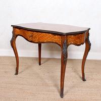 Serpentine Writing Table Louis XVI Style Inlaid Kingwood
