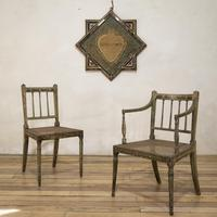 Charming Near Pair of Regency Green Painted Occasional / Elbow Chairs (8 of 14)