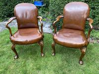 Pair of Leather Queen Anne Style Armchairs (9 of 10)