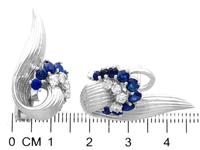 2.05ct Sapphire & 0.65ct Diamond, 18ct White Gold Stud Earrings - Vintage 1958 (6 of 9)