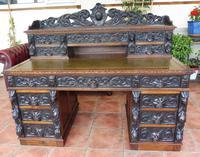Country Oak Lions Head Pedestal Desk 1850 W M Richardson Ltd (12 of 12)