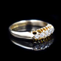 Antique Edwardian Old Cut Diamond Five Stone 18K Gold Ring (3 of 10)