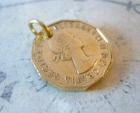 Vintage Pocket Watch Chain Fob 1966 Queen Elizabeth Threepenny 3d Coin Fob (4 of 7)