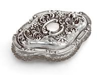 Edwardian Silver & Cut Glass Jewellery Jar with a Floral and Scroll Embossed Pull Off Lid (6 of 6)