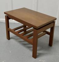 Small Mid Century Modern Teak Coffee Table with Magazine Shelf  Under (3 of 4)