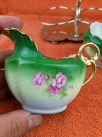 Antique Bone China Milk Jug & Sugar Bowl in Silver Pate Carry Stand C1890 (8 of 12)