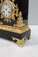French Rococo Style Black Slate & Bronze Gilt Mantel Clock by Japy Freres (7 of 9)