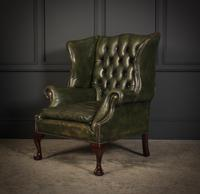 Vintage Green Leather Wing Chair (6 of 25)