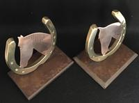 Pair of Copper & Brass Horse Head Bookends c.1930 (2 of 4)