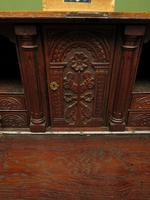 Antique Carved Oak Writing Bureau Desk with Fall Front, Handsome Gothic Piece (19 of 24)