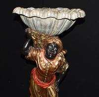 Pair of Venetian Blackamoor Figurines - Antique Clam Shell Planter Stands (3 of 11)