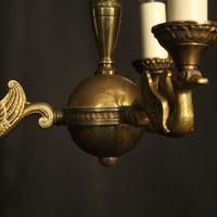 French Gilded Brass Empire 3 Light Chandelier (7 of 10)