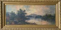 Very Large Decorative 19th Century Highland Lake Mountainous Landscape Oil Painting