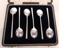 Late Art Deco Silver Coffee Spoons, Hallmarked 1940 (2 of 4)