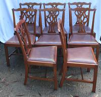 1900's Mahogany Set of 8 Georgian style Dining Chairs with Pop out Leather Seats (2 of 3)