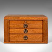 Antique Collector's Specimen Case, English, Oak, Chest, Jewellery Box, Edwardian (3 of 12)
