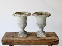 Pair of Vintage French Weathered Medici Urns (2 of 7)