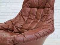 H.W.Klein, Danish swivel armchair, 70s, leather, original upholstery, very good condition (10 of 19)