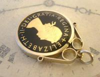 Vintage Pocket Watch Chain Florin Fob 1967 Lucky Silver & Enamel Two Shilling Fob (8 of 10)