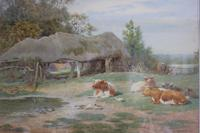 Antique Original Watercolour - Cows Resting - Charles James Adams c.1900 (6 of 9)