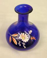 Antique Bristol Blue Decorated Glass Vase (4 of 5)