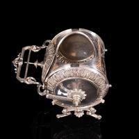 Antique Engraved Biscuit Barrel, Silver Plate, Decorative Jar, Victorian c.1860 (8 of 12)