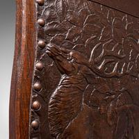 Antique Embossed Fire Screen, Oak, Leather, Fireside, Arts & Crafts, Edwardian (10 of 12)