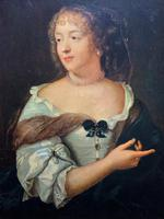 Wonderful 20thc Oil Portrait Painting of Lady In 17th Century Dress (9 of 11)