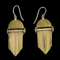 Antique Victorian Etruscan Revival Turquoise Fringe Earrings 18ct Gold c.1860 (2 of 5)