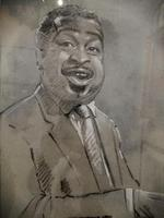 A pencil  portrait of Count Basie highlighted in pastel (2 of 6)