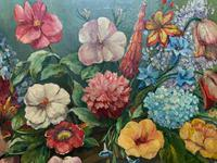 An Extraordinary Original 1952 Vintage French Still Life Of Flowers Oil Painting (9 of 11)