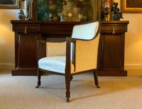 Exceptional Pair of Mahogany Inlaid Linen Silk Upholstered Bergere Armchairs (11 of 12)