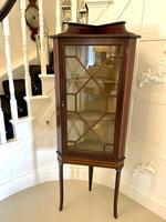 Quality Antique Edwardian Inlaid Mahogany Corner Display Cabinet