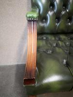Green Leather Georgian Style Chesterfield Gainsborough Library / Office Chair (7 of 8)
