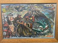 Expressionist Scottish Oil Painting Fishermen Hauling The Nets by Archibald Peddie Glasgow School of Art (4 of 37)