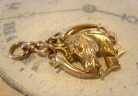 Victorian Pocket Watch Chain Horse & Pony Fob 1890s 10ct Rose Gold Filled Equestrian Fob (6 of 9)