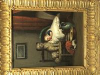 """19th Century English School Oil Painting """"The Loyal Sentinel"""" Dog Guarding Child (2 of 17)"""