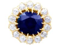 7.05ct Sapphire & 2.31ct Diamond, 18ct Yellow Gold Cluster Earrings c.1930 (3 of 9)
