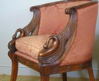 Fine Pair of Empire Style Mahogany Armchairs with Carved Swan Arms (3 of 7)
