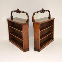 Pair of Antique Victorian Burr Walnut Mirrored Bookcases (4 of 13)